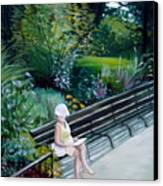 Lady In Central Park Canvas Print
