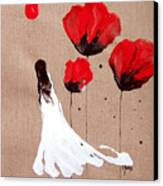 Lady Of The Poppies -contemporary Abstract Woman Red Flowers Fantasy Canvas Print by Catherine Jeltes