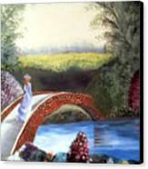 Lady On The Bridge Canvas Print