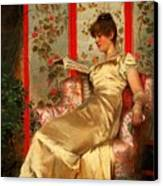 Lady Reading Canvas Print by Joseph Frederick Charles Soulacroix