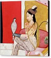 Lady With A Hawk Canvas Print by Guler School
