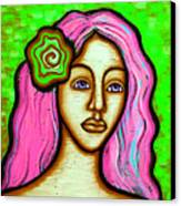 Lady With Green Flower-pink Canvas Print by Brenda Higginson