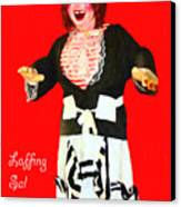 Laffing Sal - Playland At The Beach - San Francisco - 7d14361 - Red With Text Canvas Print by Wingsdomain Art and Photography