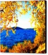 Lake Coeur D'alene Through Golden Leaves Canvas Print