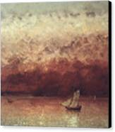 Lake Leman With Setting Sun Canvas Print by Gustave Courbet