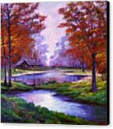 Lakeside Cabin Canvas Print by David Lloyd Glover