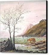 Landscape With Mountain Lion Canvas Print