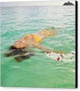 Lanikai Floating Woman Canvas Print