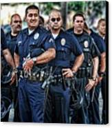 Lapd Safeguarding Lives Canvas Print by Chris Yarzab