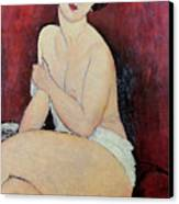 Large Seated Nude Canvas Print by Amedeo Modigliani