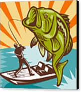 Largemouth Bass Fish And Fly Fisherman Canvas Print