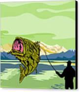 Largemouth Bass Fish Jumping Canvas Print