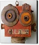 Larry The Robot Canvas Print by Jen Hardwick