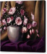 Lavander And Pink Flowers In Silver Vase Canvas Print
