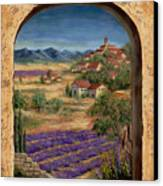 Lavender Fields And Village Of Provence Canvas Print by Marilyn Dunlap