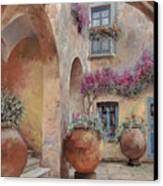 Le Arcate In Cortile Canvas Print by Guido Borelli