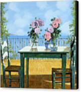 Le Rose E Il Balcone Canvas Print by Guido Borelli