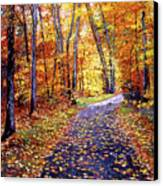 Leaf Covered Road Canvas Print by David Lloyd Glover