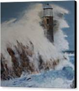 Lighthouse In A Storm Canvas Print by David Hawkes