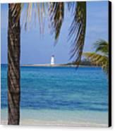 Lighthouse Under Palm Canvas Print