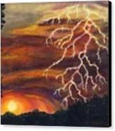 Lightning At Sunset Canvas Print