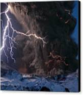 Lightning Pierces The Erupting Canvas Print by Sigurdur H Stefnisson