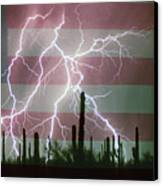 Lightning Storm In The Usa Desert Flag Background Canvas Print by James BO  Insogna