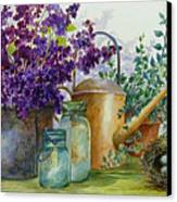 Lilacs And Ball Jars Canvas Print