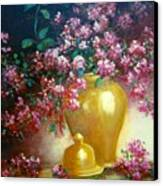 Lilacs In Gold Vase Canvas Print