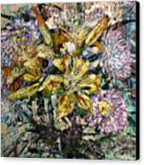 Lilies And Chrysanthemums.1999 Canvas Print