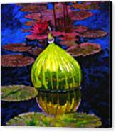 Lilies And Glass Reflections Canvas Print