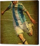 Lionel Andres Messi Argentine Footballer Fc Barcelona  Canvas Print by Lee Dos Santos