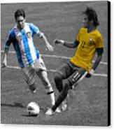 Lionel Messi And Neymar Clash Of The Titans At Metlife Stadium  Canvas Print by Lee Dos Santos