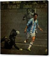 Lionel Messi Breaking Raphael Cabrals Ankles  Canvas Print