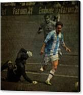 Lionel Messi Breaking Raphael Cabrals Ankles  Canvas Print by Lee Dos Santos