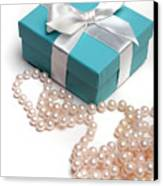 Little Blue Gift Box And Pearls Canvas Print
