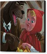Little Red Riding Hood With Nasty Wolf Canvas Print by Martin Davey
