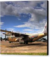 Lockheed C130h Of The Royal Jordanian Airforce. Canvas Print by Mike Lester