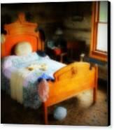 Log Cabin Bedroom Canvas Print