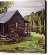 Log Cabin By The Lake Canvas Print