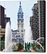 Logan Circle Fountain With City Hall In Backround Canvas Print by Bill Cannon
