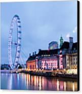 London Eye At Night Canvas Print by Donald Davis