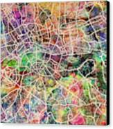 London Map Art Watercolor Canvas Print by Michael Tompsett