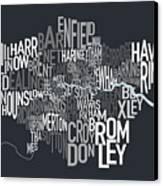 London Uk Text Map Canvas Print by Michael Tompsett