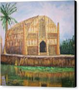 Long Hut Of The Marsh Arabs Canvas Print by Ron Bowles