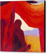 Looking Out Of The Red Tent Canvas Print by Renee Kahn