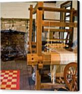 Loom And Fireplace In Settlers Cabin Canvas Print