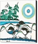 Loons At Play Canvas Print