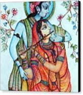 Lord Radha Krishna's Divine Love Canvas Print by Kavita Sarawgi