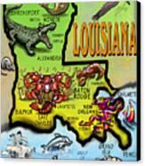 Louisiana Cartoon Map Canvas Print